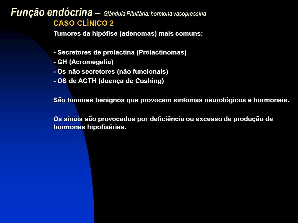 Função endócrina – Glândula Pituitária: hormona vasopressina CASO CLÍNICO 2 Tumores da hipófise (adenomas) mais comuns: - Secretores de prolactina (Pr