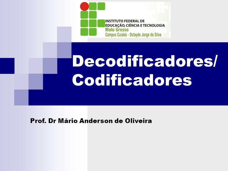 Codificadores e Decodificadores DECODIFICADOR – Circuito digital que detecta a presença de uma combinação específica de bits (código) em suas entradas indicando a presença desse código através de um nível de saída especificado.