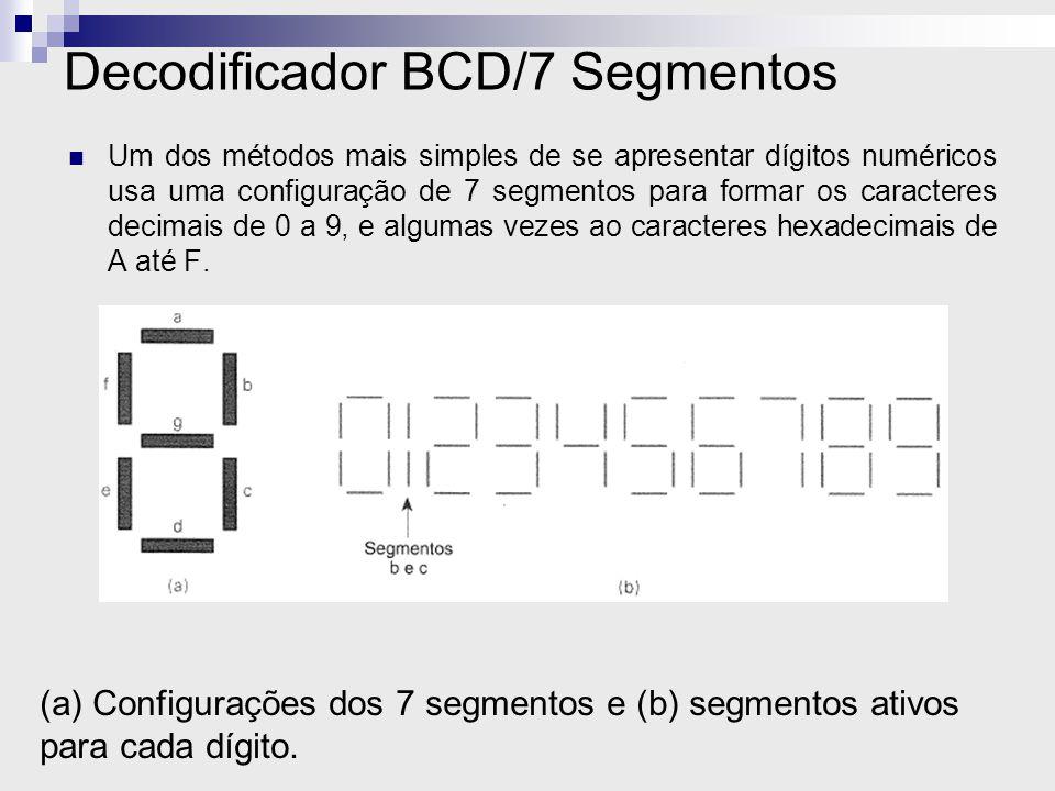 Decodificador BCD/7 Segmentos Um dos métodos mais simples de se apresentar dígitos numéricos usa uma configuração de 7 segmentos para formar os caract