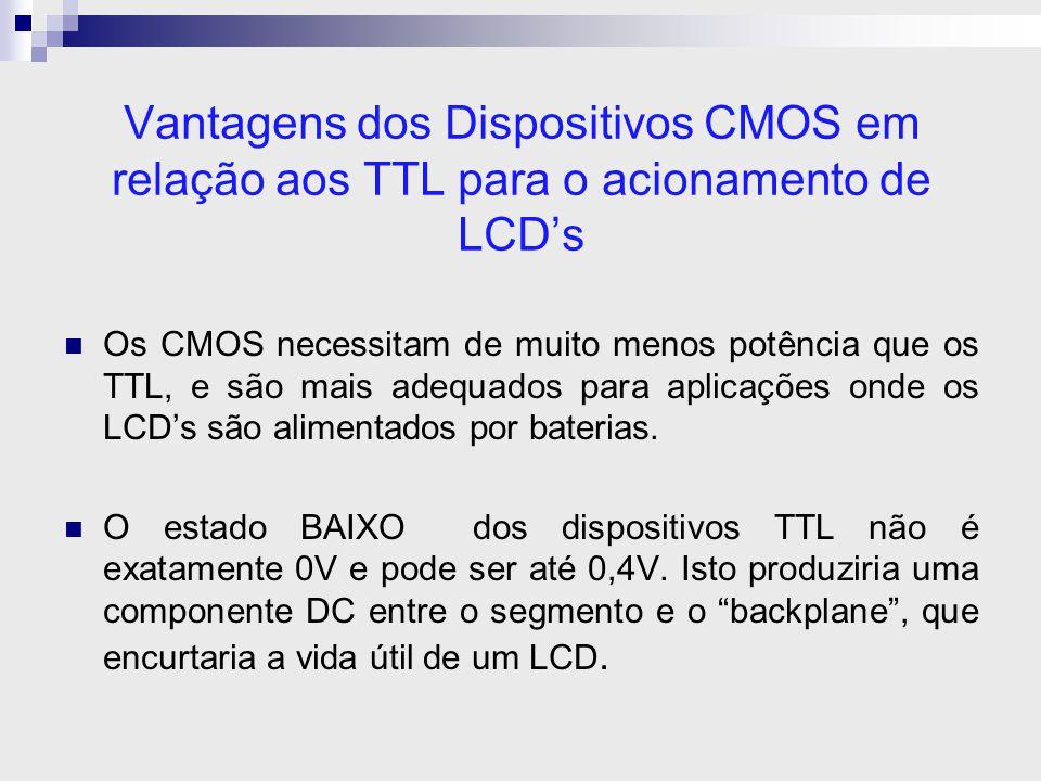 Vantagens dos Dispositivos CMOS em relação aos TTL para o acionamento de LCD's Os CMOS necessitam de muito menos potência que os TTL, e são mais adequ