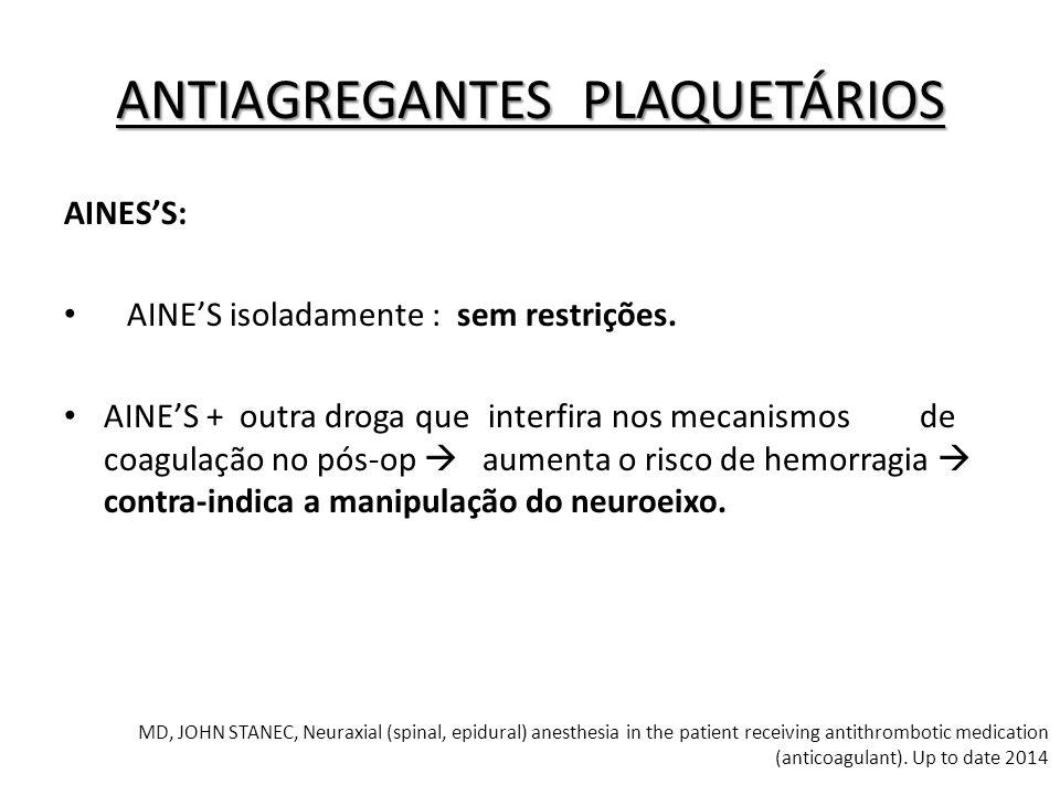 AINES'S: AINE'S isoladamente : sem restrições. AINE'S + outra droga queinterfira nos mecanismos de coagulação no pós-op  aumenta o risco de hemorragi