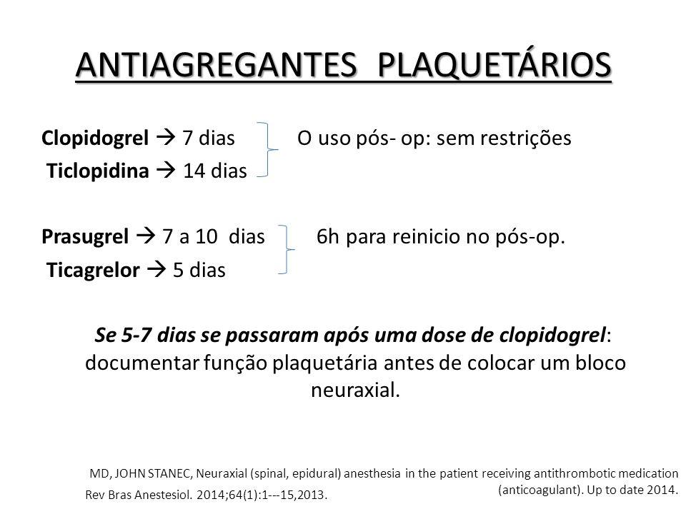 Clopidogrel  7 dias O uso pós- op: sem restrições Ticlopidina  14 dias Prasugrel  7 a 10 dias 6h para reinicio no pós-op. Ticagrelor  5 dias Se 5-