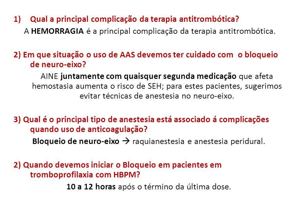 1)Qual a principal complicação da terapia antitrombótica? A HEMORRAGIA é a principal complicação da terapia antitrombótica. 2) Em que situação o uso d