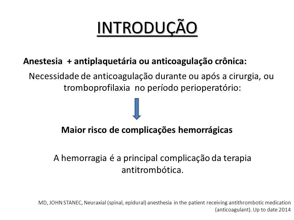 Anestesia + antiplaquetária ou anticoagulação crônica: Necessidade de anticoagulação durante ou após a cirurgia, ou tromboprofilaxia no período periop