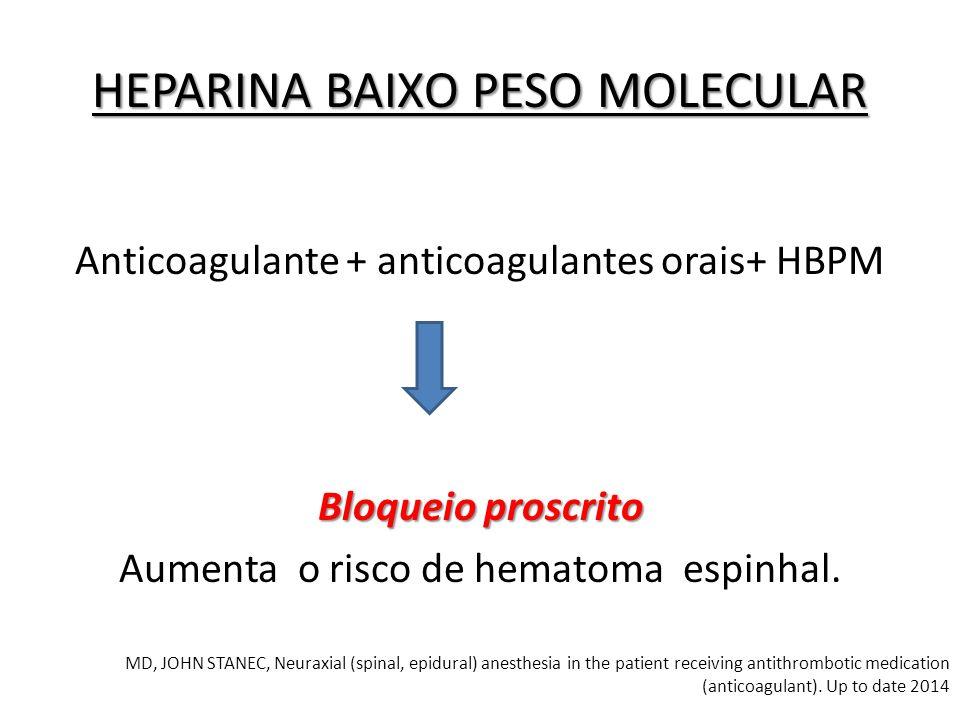 Anticoagulante + anticoagulantes orais+ HBPM Bloqueio proscrito Aumenta o risco de hematoma espinhal. HEPARINA BAIXO PESO MOLECULAR MD, JOHN STANEC, N