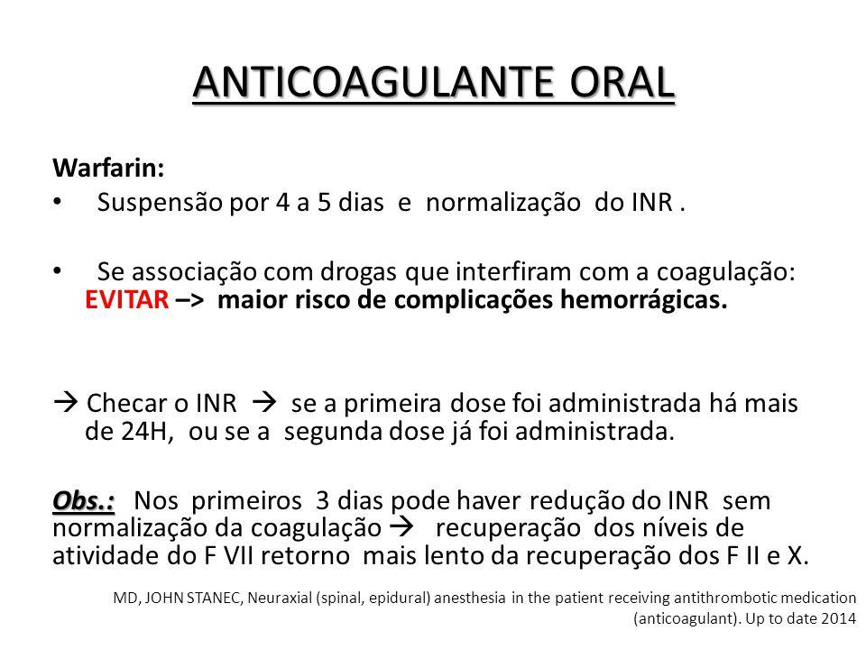 Warfarin: Suspensão por 4 a 5 dias e normalização do INR. Se associação com drogas que interfiram com a coagulação: EVITAR –> maior risco de complicaç