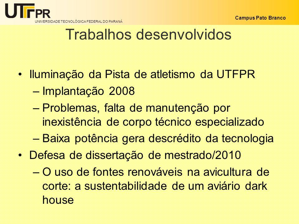 UNIVERSIDADE TECNOLÓGICA FEDERAL DO PARANÁ Campus Pato Branco Trabalhos desenvolvidos Iluminação da Pista de atletismo da UTFPR –Implantação 2008 –Pro