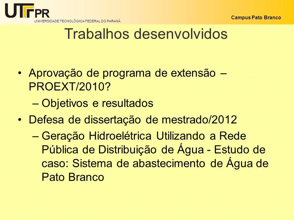 UNIVERSIDADE TECNOLÓGICA FEDERAL DO PARANÁ Campus Pato Branco Trabalhos desenvolvidos Aprovação de programa de extensão – PROEXT/2010? –Objetivos e re