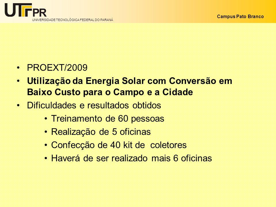 UNIVERSIDADE TECNOLÓGICA FEDERAL DO PARANÁ Campus Pato Branco PROEXT/2009 Utilização da Energia Solar com Conversão em Baixo Custo para o Campo e a Ci