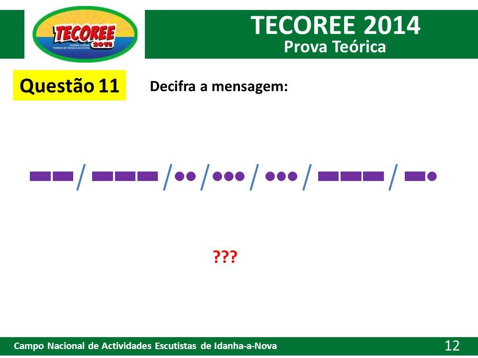 TECOREE 2014 Prova Teórica Campo Nacional de Actividades Escutistas de Idanha-a-Nova 12 Questão 11 Decifra a mensagem: ???