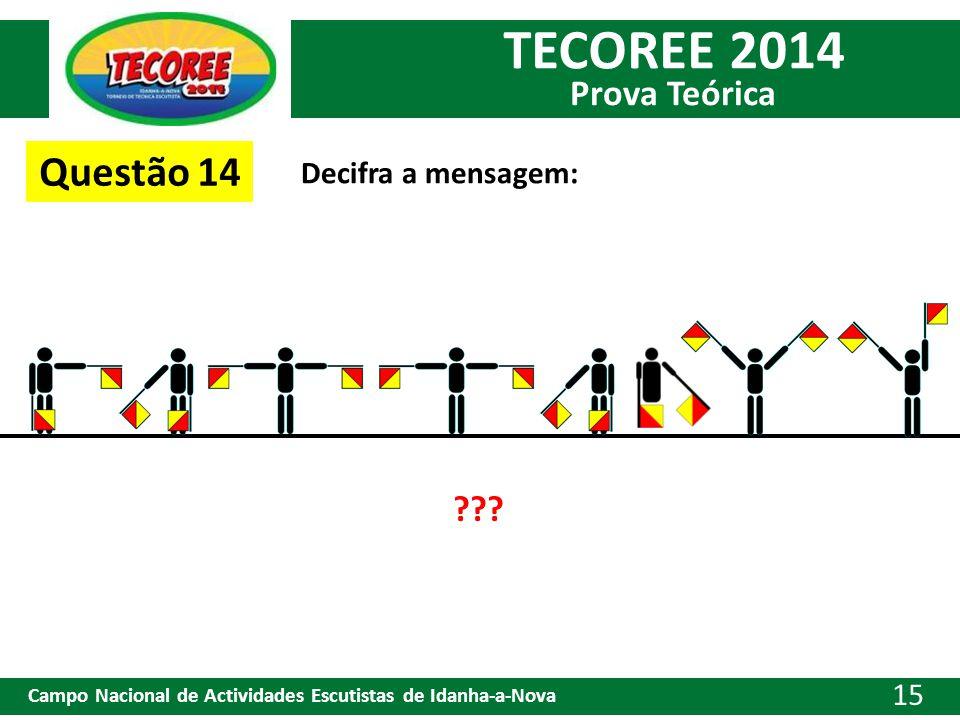 TECOREE 2014 Prova Teórica Campo Nacional de Actividades Escutistas de Idanha-a-Nova 15 Questão 14 Decifra a mensagem: ???