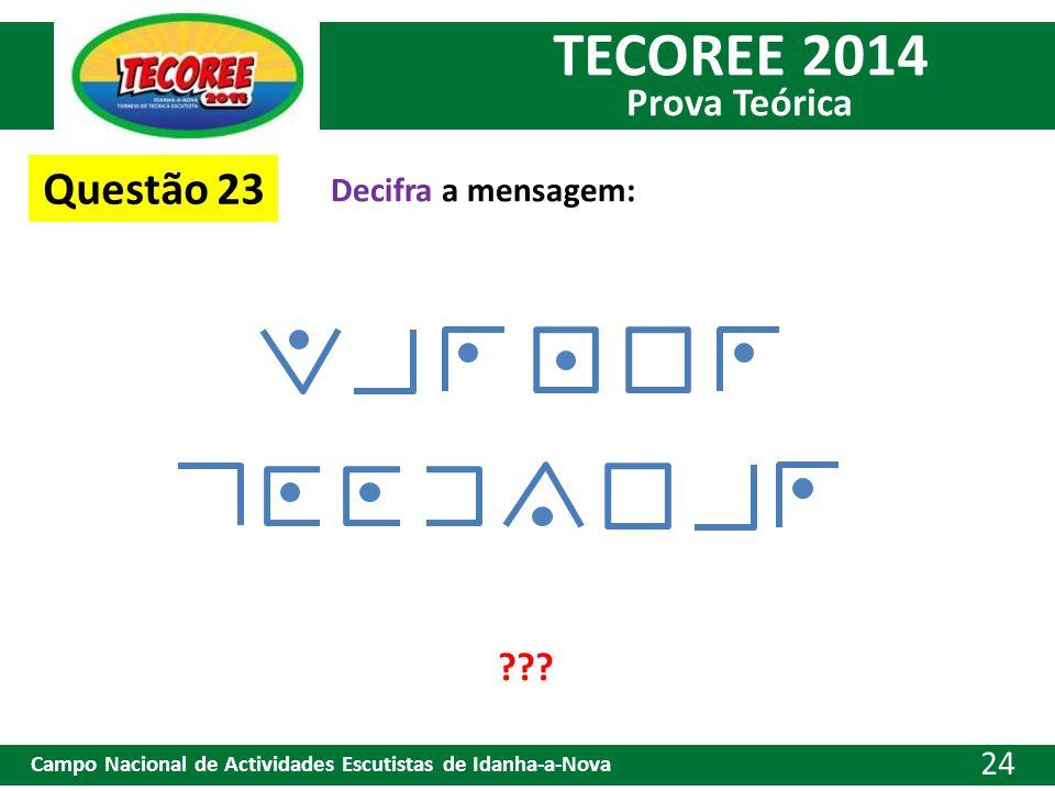 TECOREE 2014 Prova Teórica Campo Nacional de Actividades Escutistas de Idanha-a-Nova 24 Decifra a mensagem: Questão 23 ???
