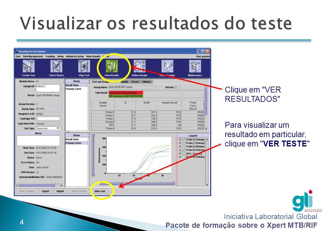 Iniciativa Laboratorial Global Pacote de formação sobre o Xpert MTB/RIF -5--5- VER TESTE : clique duas vezes no teste que pretende visualizar