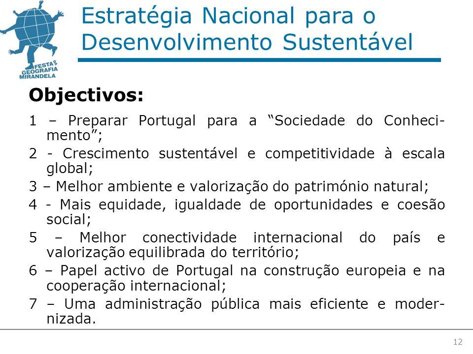 12 Estratégia Nacional para o Desenvolvimento Sustentável Objectivos: 1 – Preparar Portugal para a Sociedade do Conheci- mento ; 2 - Crescimento sustentável e competitividade à escala global; 3 – Melhor ambiente e valorização do património natural; 4 - Mais equidade, igualdade de oportunidades e coesão social; 5 – Melhor conectividade internacional do país e valorização equilibrada do território; 6 – Papel activo de Portugal na construção europeia e na cooperação internacional; 7 – Uma administração pública mais eficiente e moder- nizada.