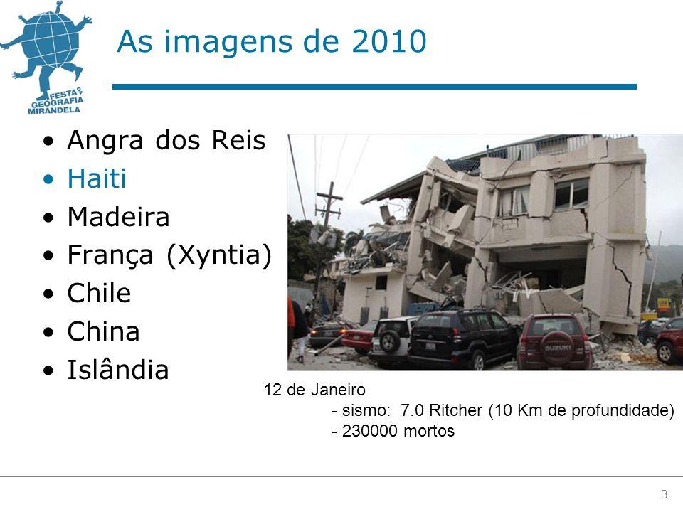 As imagens de 2010 Angra dos Reis Haiti Madeira França (Xyntia) Chile China Islândia 3 12 de Janeiro - sismo: 7.0 Ritcher (10 Km de profundidade) - 230000 mortos