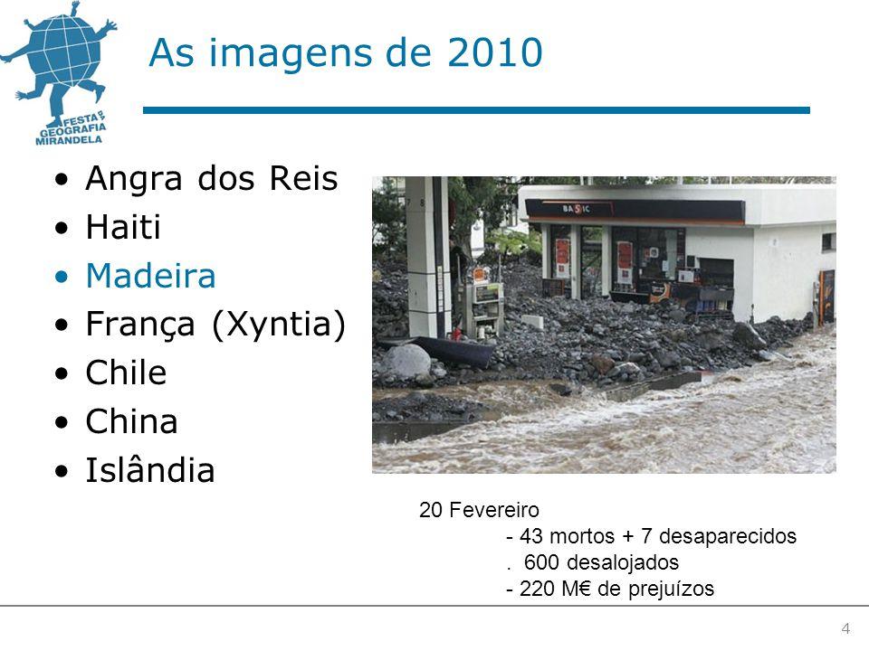 As imagens de 2010 Angra dos Reis Haiti Madeira França (Xyntia) Chile China Islândia 4 20 Fevereiro - 43 mortos + 7 desaparecidos.