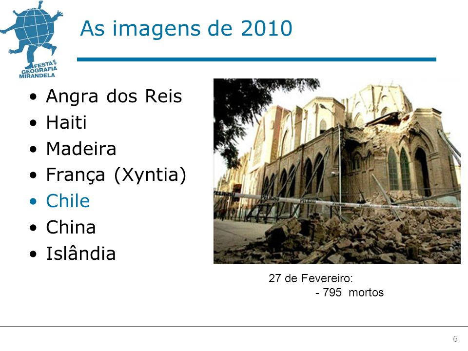 As imagens de 2010 Angra dos Reis Haiti Madeira França (Xyntia) Chile China Islândia 6 27 de Fevereiro: - 795 mortos