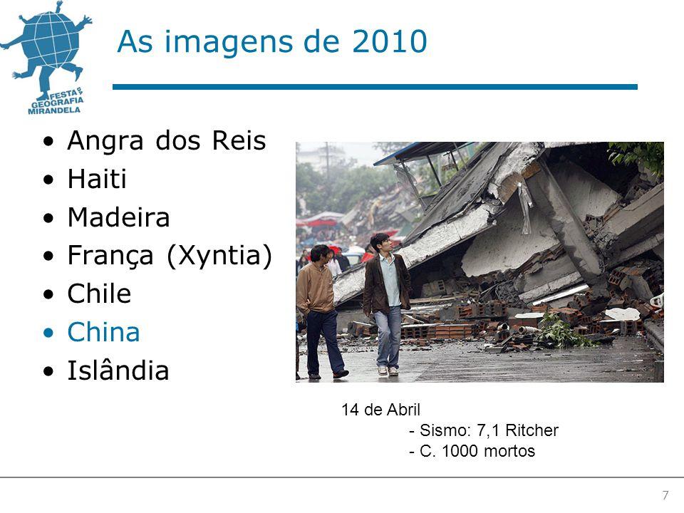 As imagens de 2010 Angra dos Reis Haiti Madeira França (Xyntia) Chile China Islândia 7 14 de Abril - Sismo: 7,1 Ritcher - C.