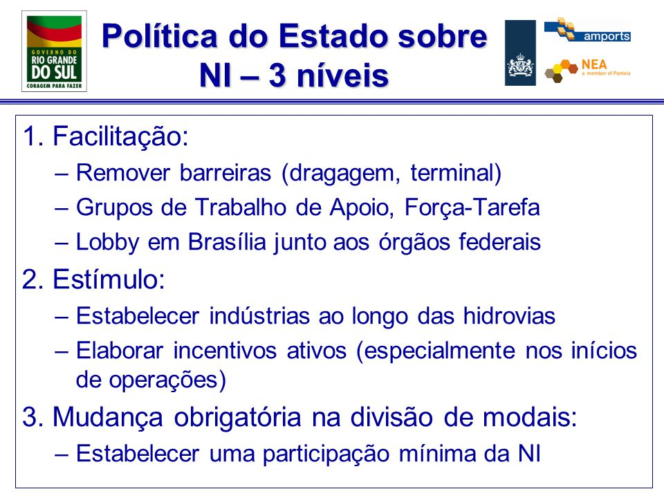 Política do Estado sobre NI – 3 níveis 1.