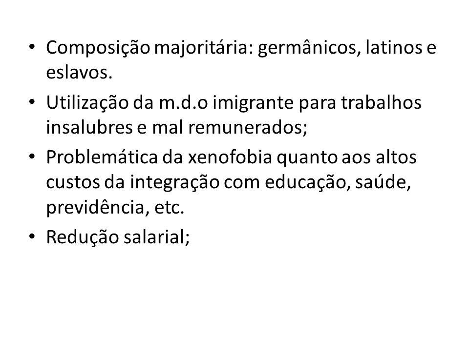 Composição majoritária: germânicos, latinos e eslavos. Utilização da m.d.o imigrante para trabalhos insalubres e mal remunerados; Problemática da xeno