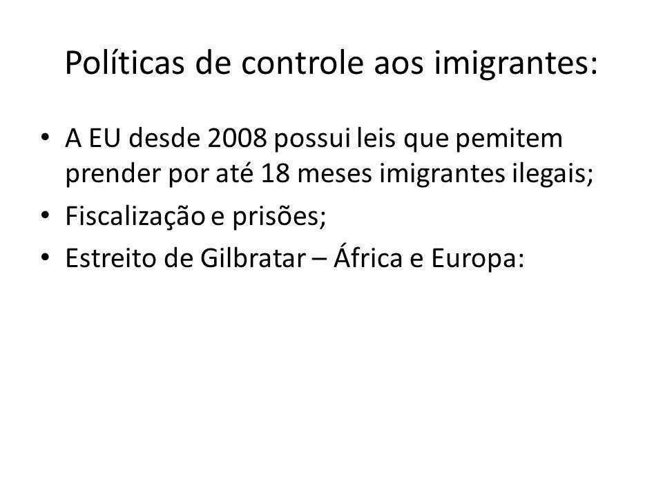 Políticas de controle aos imigrantes: A EU desde 2008 possui leis que pemitem prender por até 18 meses imigrantes ilegais; Fiscalização e prisões; Est