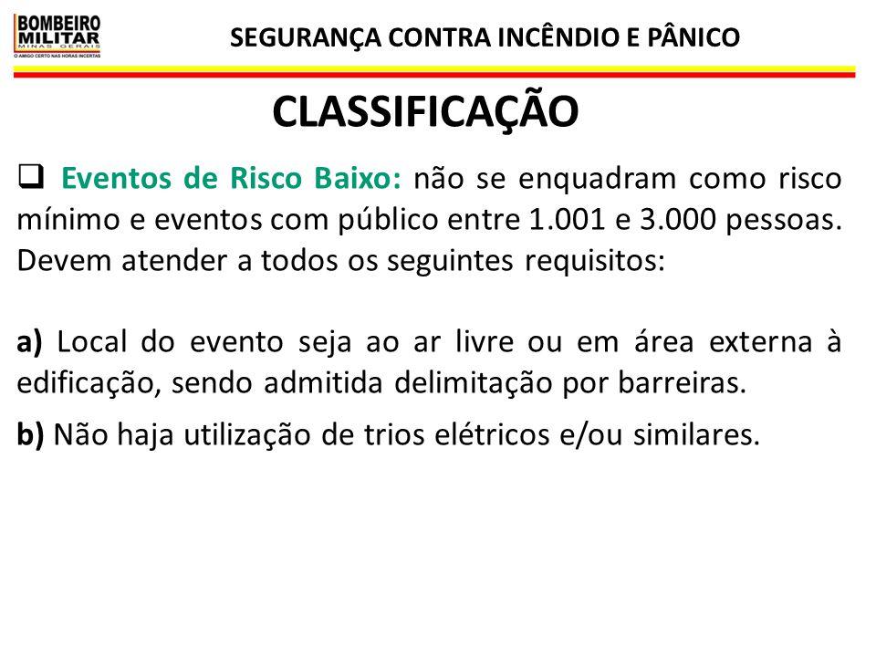 SEGURANÇA CONTRA INCÊNDIO E PÂNICO 10 CLASSIFICAÇÃO  Eventos de Risco Baixo: não se enquadram como risco mínimo e eventos com público entre 1.001 e 3