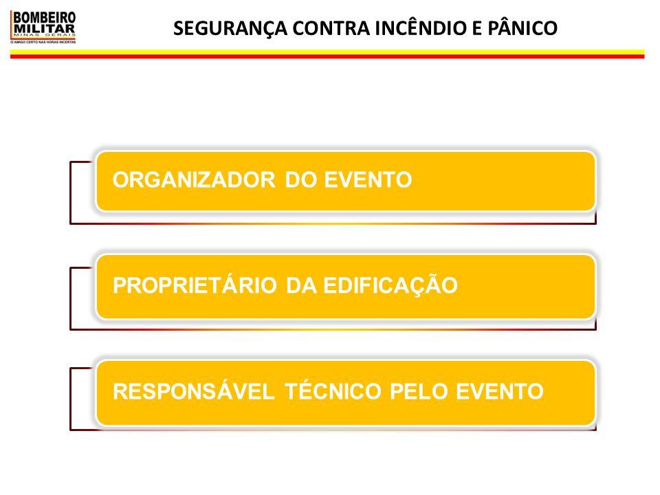 SEGURANÇA CONTRA INCÊNDIO E PÂNICO 14 ORGANIZADOR DO EVENTO PROPRIETÁRIO DA EDIFICAÇÃORESPONSÁVEL TÉCNICO PELO EVENTO