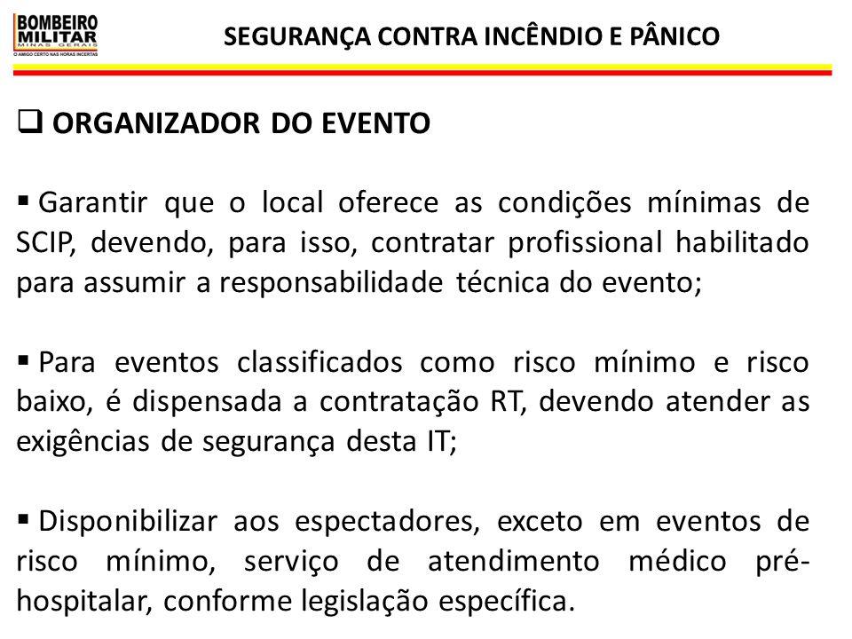 SEGURANÇA CONTRA INCÊNDIO E PÂNICO 16  ORGANIZADOR DO EVENTO  Garantir que o local oferece as condições mínimas de SCIP, devendo, para isso, contrat
