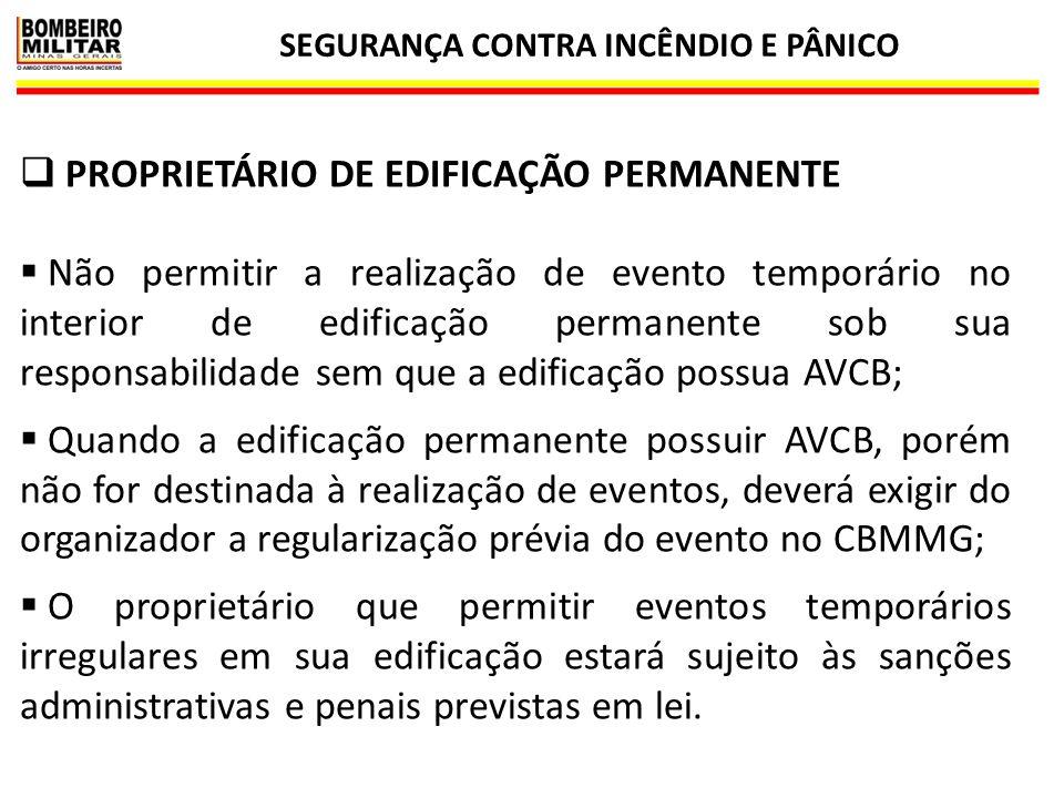 SEGURANÇA CONTRA INCÊNDIO E PÂNICO 18  PROPRIETÁRIO DE EDIFICAÇÃO PERMANENTE  Não permitir a realização de evento temporário no interior de edificaç