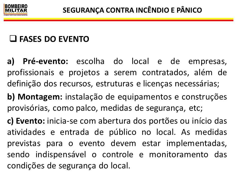 SEGURANÇA CONTRA INCÊNDIO E PÂNICO 22  FASES DO EVENTO a) Pré-evento: escolha do local e de empresas, profissionais e projetos a serem contratados, a