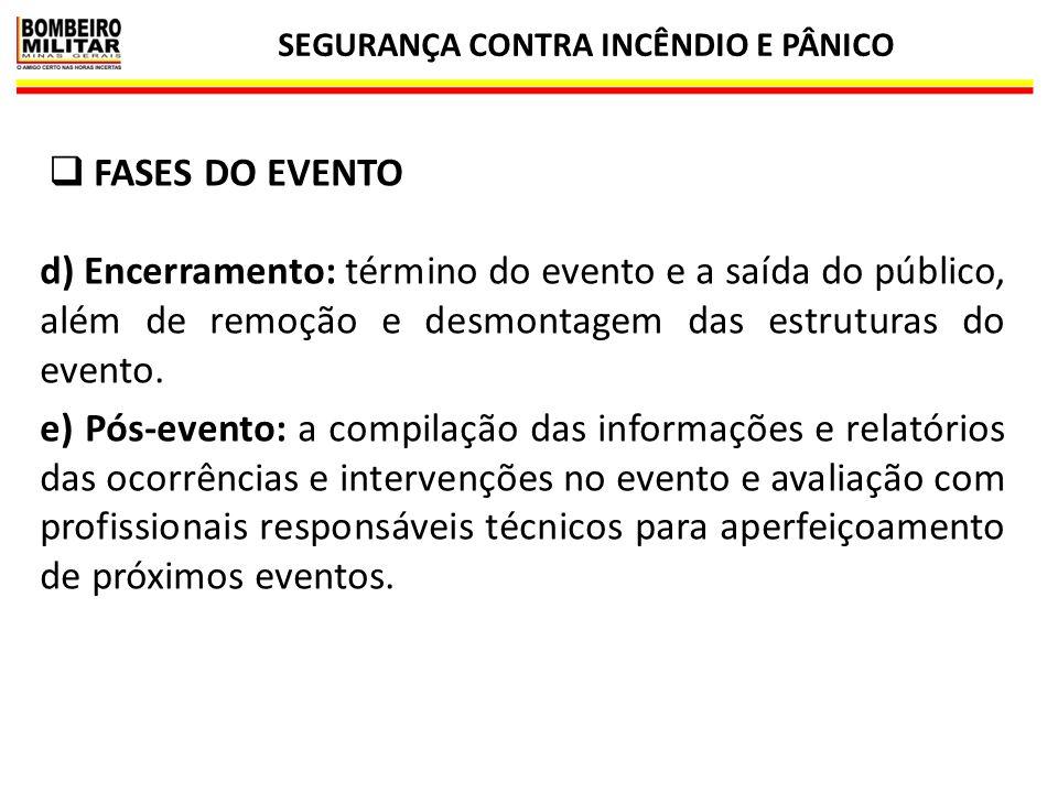 SEGURANÇA CONTRA INCÊNDIO E PÂNICO 23  FASES DO EVENTO d) Encerramento: término do evento e a saída do público, além de remoção e desmontagem das est