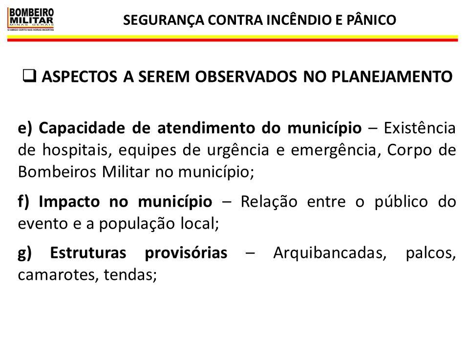 SEGURANÇA CONTRA INCÊNDIO E PÂNICO 25  ASPECTOS A SEREM OBSERVADOS NO PLANEJAMENTO e) Capacidade de atendimento do município – Existência de hospitai