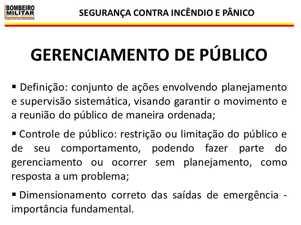 SEGURANÇA CONTRA INCÊNDIO E PÂNICO 28 GERENCIAMENTO DE PÚBLICO  Definição: conjunto de ações envolvendo planejamento e supervisão sistemática, visand