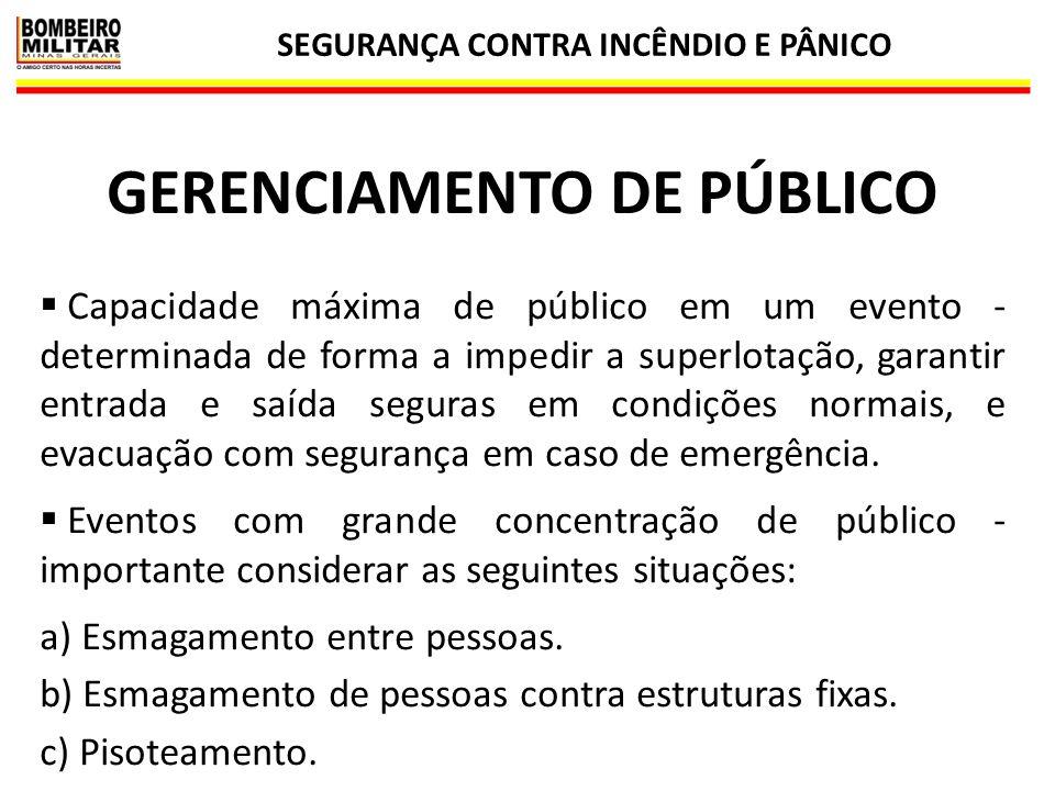 SEGURANÇA CONTRA INCÊNDIO E PÂNICO 29 GERENCIAMENTO DE PÚBLICO  Capacidade máxima de público em um evento - determinada de forma a impedir a superlot
