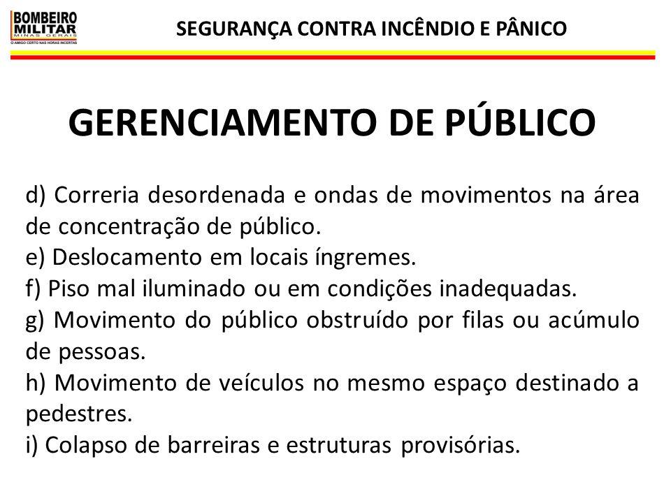 SEGURANÇA CONTRA INCÊNDIO E PÂNICO 30 GERENCIAMENTO DE PÚBLICO d) Correria desordenada e ondas de movimentos na área de concentração de público. e) De
