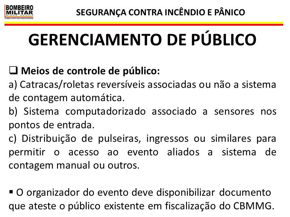 SEGURANÇA CONTRA INCÊNDIO E PÂNICO 33 GERENCIAMENTO DE PÚBLICO  Meios de controle de público: a) Catracas/roletas reversíveis associadas ou não a sis