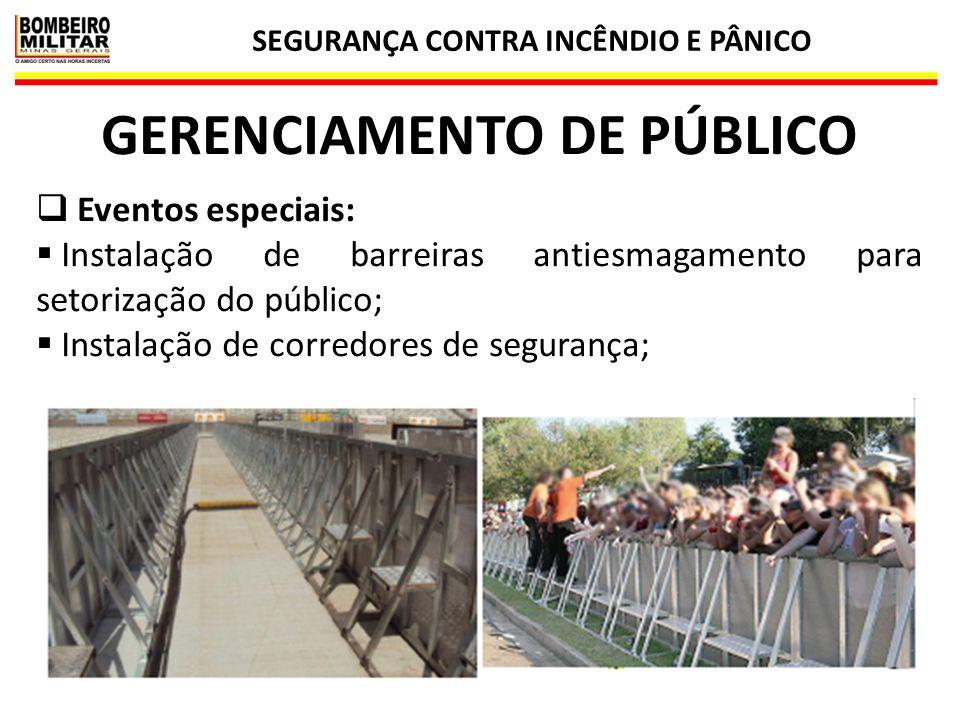 SEGURANÇA CONTRA INCÊNDIO E PÂNICO 34 GERENCIAMENTO DE PÚBLICO  Eventos especiais:  Instalação de barreiras antiesmagamento para setorização do públ