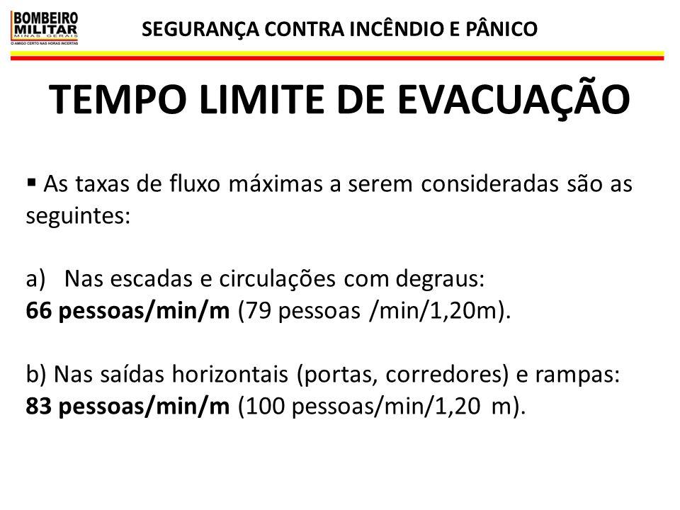 SEGURANÇA CONTRA INCÊNDIO E PÂNICO 40 TEMPO LIMITE DE EVACUAÇÃO  As taxas de fluxo máximas a serem consideradas são as seguintes: a)Nas escadas e cir