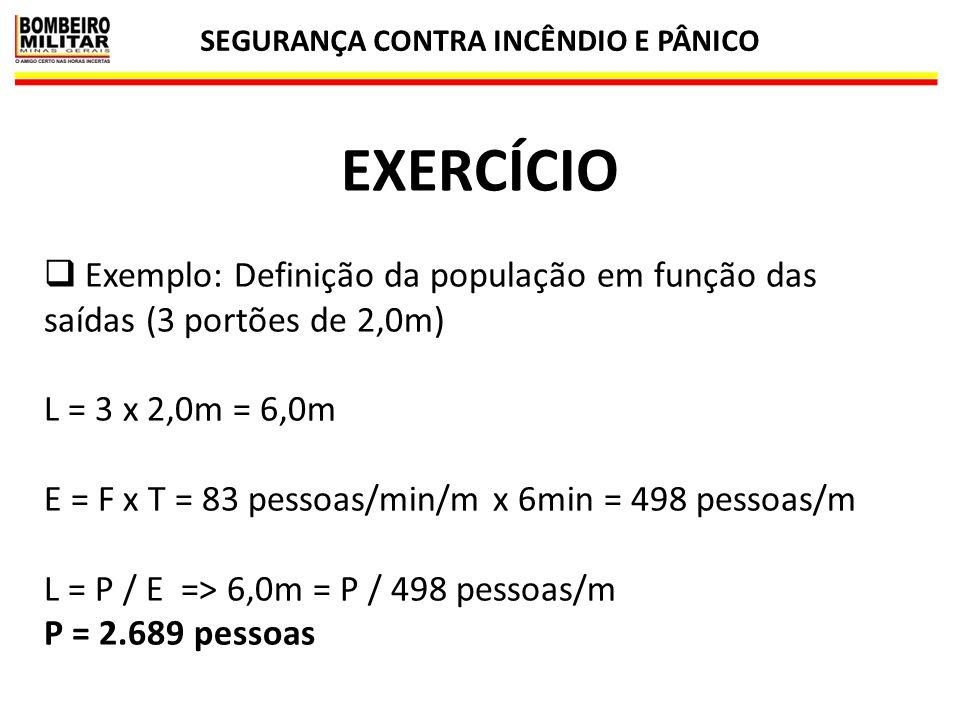 SEGURANÇA CONTRA INCÊNDIO E PÂNICO 44 EXERCÍCIO  Exemplo: Definição da população em função das saídas (3 portões de 2,0m) L = 3 x 2,0m = 6,0m E = F x