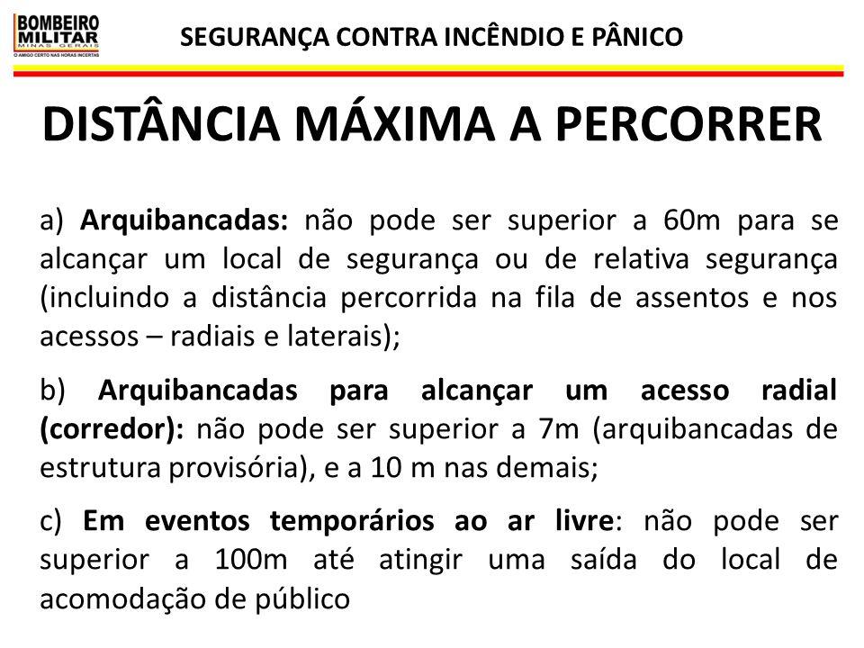SEGURANÇA CONTRA INCÊNDIO E PÂNICO 45 DISTÂNCIA MÁXIMA A PERCORRER a) Arquibancadas: não pode ser superior a 60m para se alcançar um local de seguranç