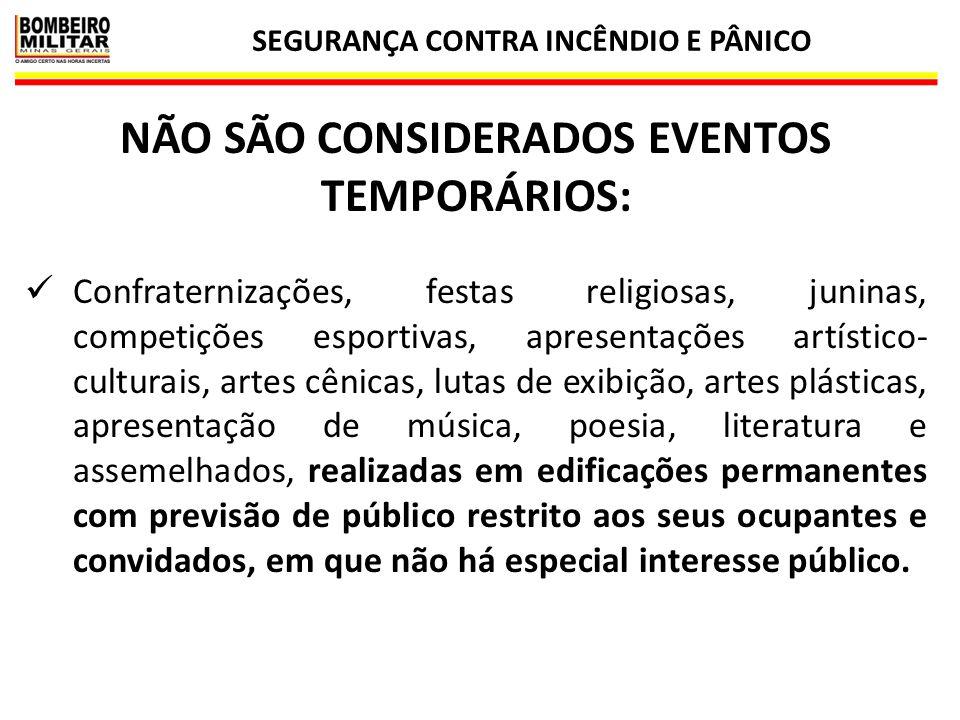SEGURANÇA CONTRA INCÊNDIO E PÂNICO 5 NÃO SÃO CONSIDERADOS EVENTOS TEMPORÁRIOS: Confraternizações, festas religiosas, juninas, competições esportivas,