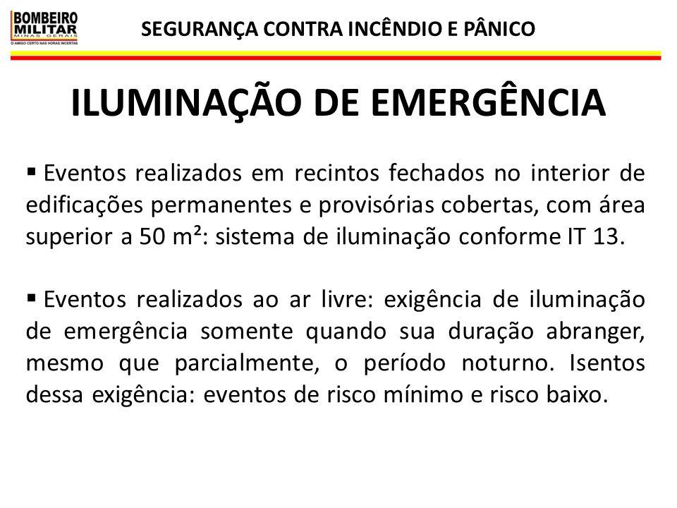 SEGURANÇA CONTRA INCÊNDIO E PÂNICO 50 ILUMINAÇÃO DE EMERGÊNCIA  Eventos realizados em recintos fechados no interior de edificações permanentes e prov