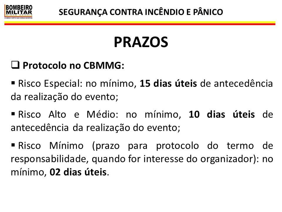 SEGURANÇA CONTRA INCÊNDIO E PÂNICO 62 PRAZOS  Protocolo no CBMMG:  Risco Especial: no mínimo, 15 dias úteis de antecedência da realização do evento;
