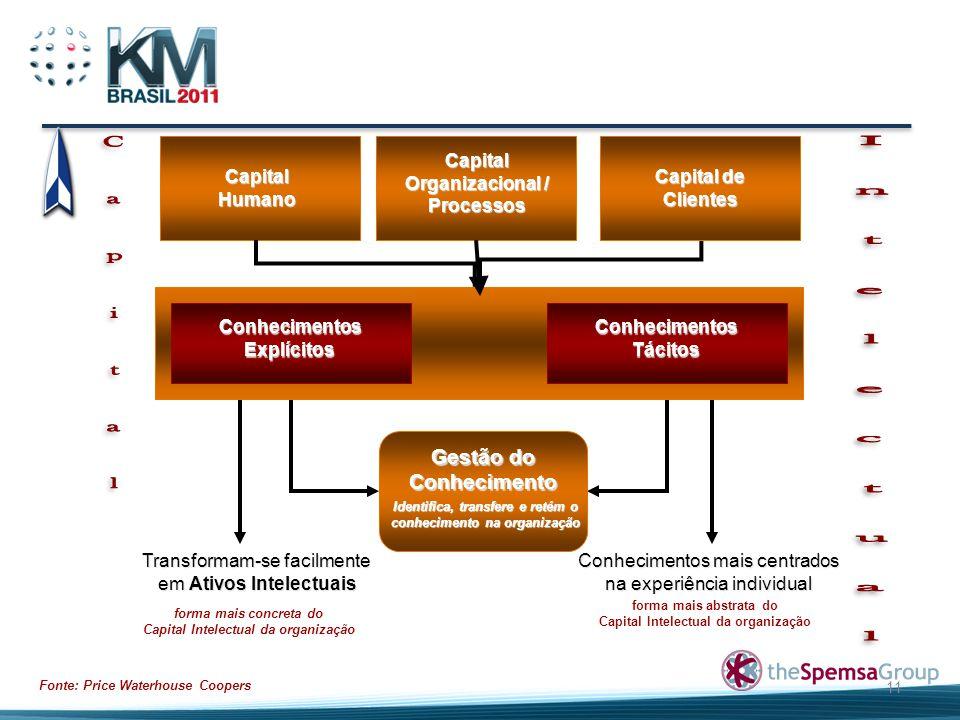 11 Capital Humano Capital Organizacional / Processos Capital de Clientes Conhecimentos Explícitos Conhecimentos Tácitos Gestão do Conhecimento Identif