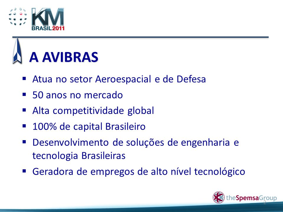 A AVIBRAS 2  Atua no setor Aeroespacial e de Defesa  50 anos no mercado  Alta competitividade global  100% de capital Brasileiro  Desenvolvimento