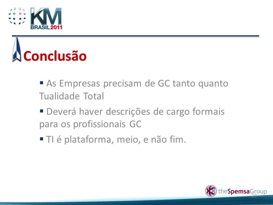 Conclusão 23  As Empresas precisam de GC tanto quanto Tualidade Total  Deverá haver descrições de cargo formais para os profissionais GC  TI é plat