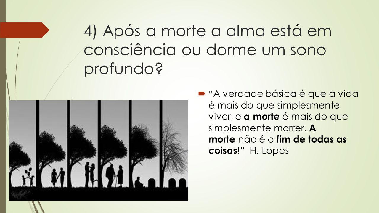 """4) Após a morte a alma está em consciência ou dorme um sono profundo?  """"A verdade básica é que a vida é mais do que simplesmente viver, e a morte é m"""