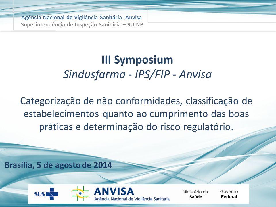 Agência Nacional de Vigilância Sanitária Anvisa Brasília, 5 de agosto de 2014 Superintendência de Inspeção Sanitária – SUINP Categorização de não conf