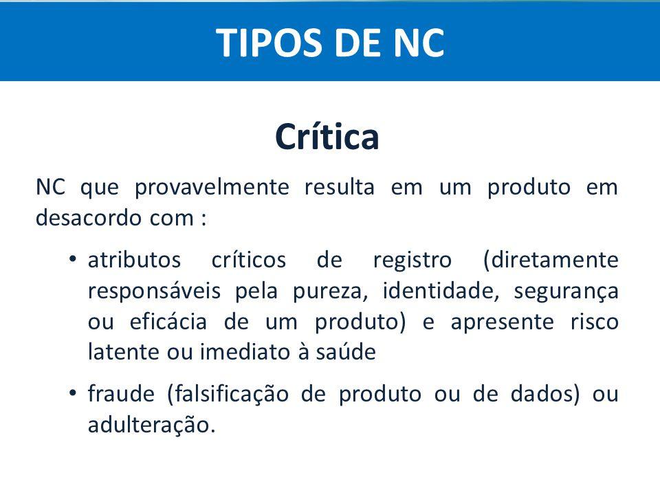 Agência Nacional de Vigilância Sanitária Anvisa Crítica NC que provavelmente resulta em um produto em desacordo com : atributos críticos de registro (