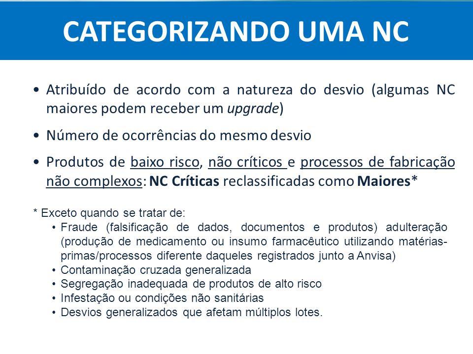 Agência Nacional de Vigilância Sanitária Anvisa Atribuído de acordo com a natureza do desvio (algumas NC maiores podem receber um upgrade) Número de o
